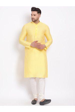 Sanwara Men Yellow Regular Straight Kurta with Churidar