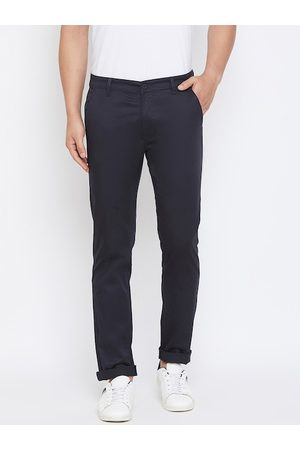 Canary London Men Navy Blue Slim Fit Solid Regular Trousers