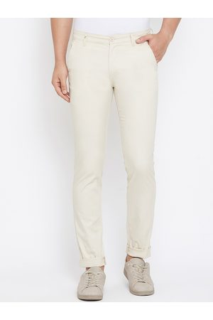 Canary London Men Cream-Coloured Slim Fit Solid Regular Trousers
