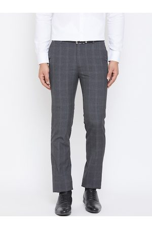 Canary London Men Grey & Black Slim Fit Checked Formal Trousers