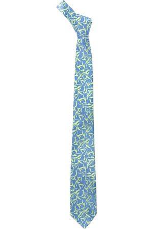 Blacksmith Men Blue & Green Leaves Printed Skinny Tie