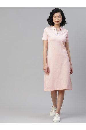 Nautica Women Pink Solid Tshirt Dress