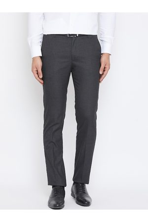 Canary London Men Grey Slim Fit Solid Formal Trousers