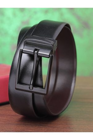 Teakwood Leathers Men Black & Brown Solid Leather Belt