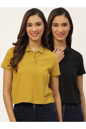 DressBerry Women Pack Of 2 Solid Pure Cotton Polo Collar T-shirt