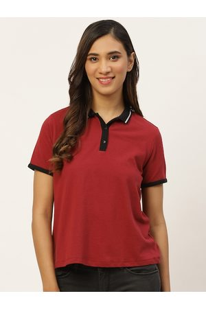 DressBerry Women Maroon Solid Pure Cotton Polo Collar T-shirt