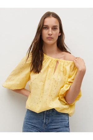 MANGO Yellow Geometric Embroidered Pure Cotton Tie-Up Neck A-Line Top