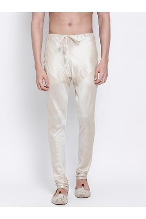 Sanwara Men Cream-Coloured Solid Art Silk Pyjamas