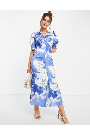 Never Fully Dressed Puff sleeve button midi dress with gold stars in sky print