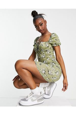 Missguided Women Casual Dresses - Mini dress with puff sleeve in khaki floral