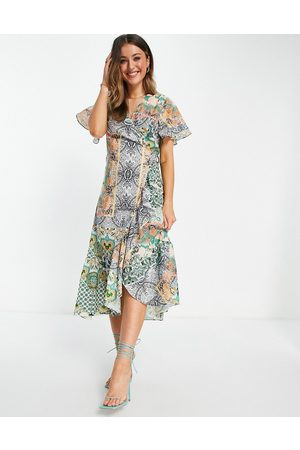 Never Fully Dressed Women Printed Dresses - Ruffle hem wrap midaxi dress in patchwork paisley print