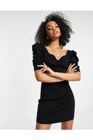 Morgan Knitted sweetheart neck puff sleeve midi dress in