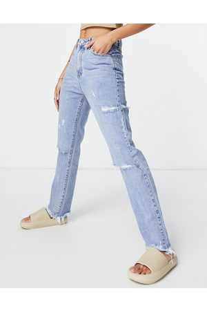 Missguided High waist jean with thigh slash in light