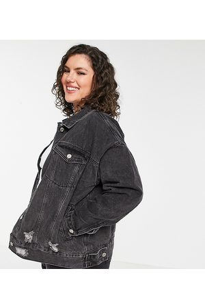 Missguided Oversized denim jacket with rips in