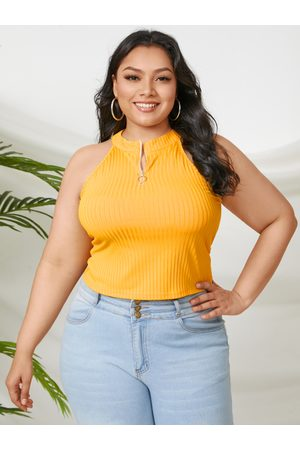 YOINS Plus Size Zip Front Stand Collar Sleeveless Cami