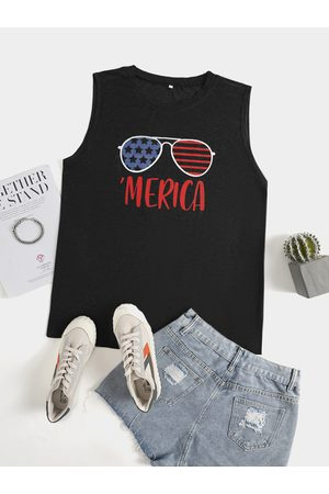 YOINS Women Vests - Plus Size Crew Neck Letter Independence Day Tank Top