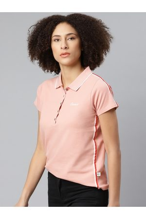 Roadster Women Polo Shirts - Women Peach Coloured Solid Polo Collar T-shirt With Typographic Detail