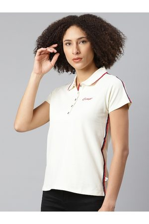 Roadster Women White Solid Polo Collar T-shirt With Typographic Detail