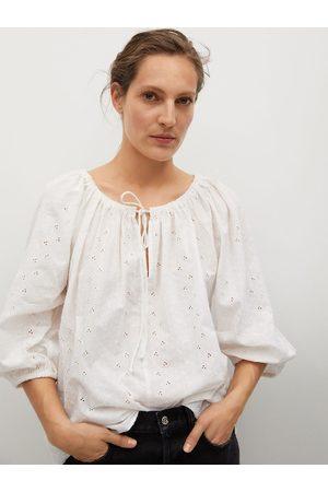 MANGO White Geometric Schiffli Embroidered Pure Cotton Tie-Up Neck A-Line Top
