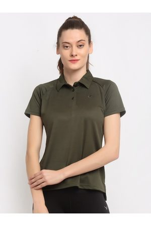 Invincible Women Olive Green Solid Polo Collar T-shirt