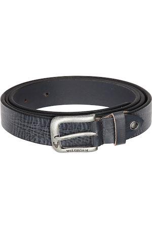 WildHorn Men Navy Blue Textured Leather Belt