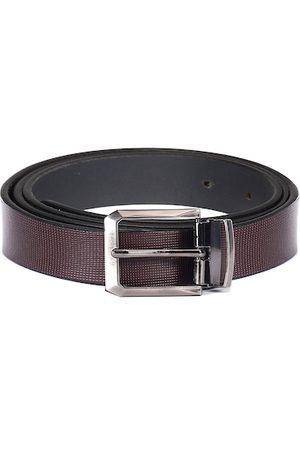 WildHorn Men Coffee Brown Textured Leather Belt