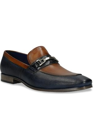 Bugatti Men Blue & Brown Textured Leather Formal Loafers