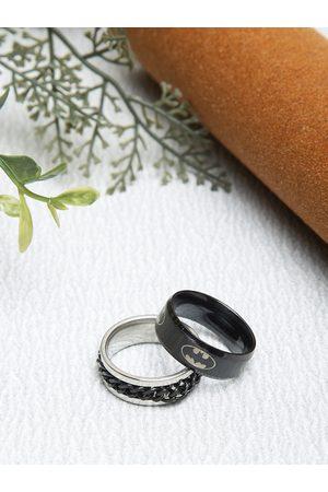 YouBella Men Rings - Men Set Of 2 Black & Silver-Toned Textured Finger Rings