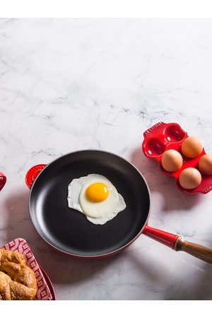 Le Creuset Black & Red Frying Pan With Wooden Handle
