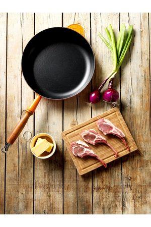 Le Creuset Orange & Black Frying Pan With Wooden Handle