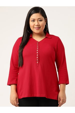 Revolution Plus Size Women Red Solid Polo Collar T-shirt