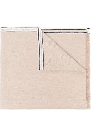 Brunello Cucinelli Striped-edge cashmere scarf