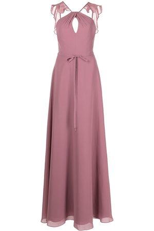 Marchesa Notte Women Halterneck Dresses - Frilled halter-neck gown