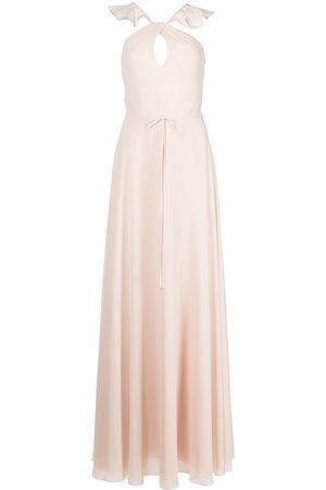 Marchesa Notte Ruffle halter-neck gown