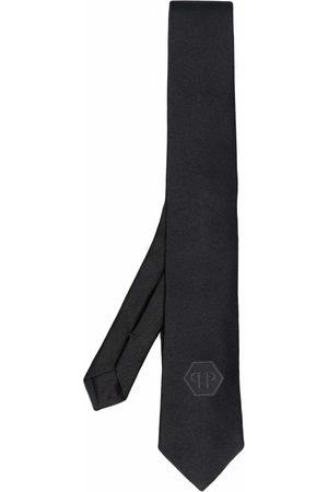 Philipp Plein Men Bow Ties - Hexagon logo-patch silk tie