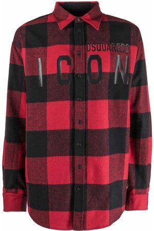 Dsquared2 Men Long Sleeve - Plaid-check logo-print shirt