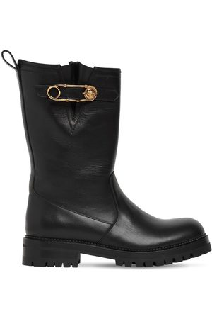 VERSACE 30mm Leather Biker Boots