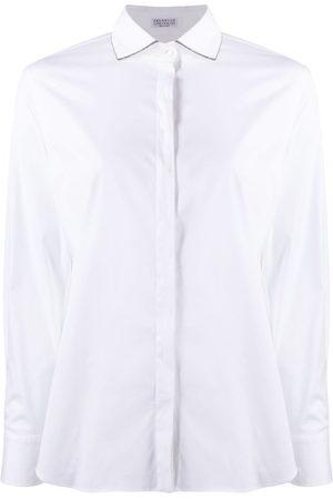 Brunello Cucinelli Women Long Sleeve - Monili chain-embellished long-sleeved shirt