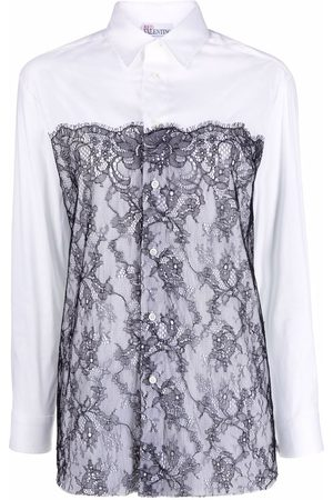 RED Valentino Women Long Sleeve - Lace panel shirt