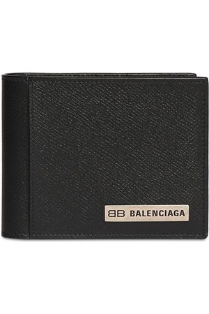 Balenciaga Men Wallets - Metal Logo Leather Wallet