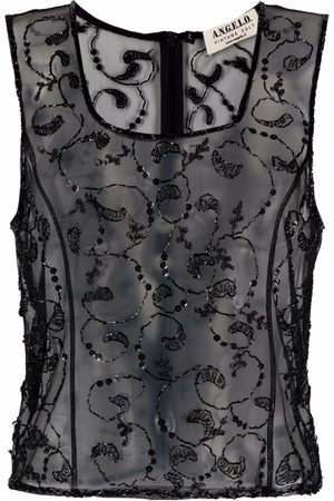 A.N.G.E.L.O. Vintage Cult 1990s bead-embroidered sheer tank top