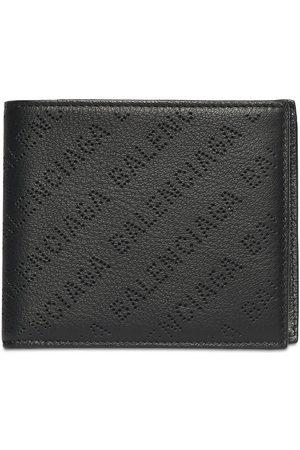 Balenciaga Men Wallets - Allover Logo Leather Wallet