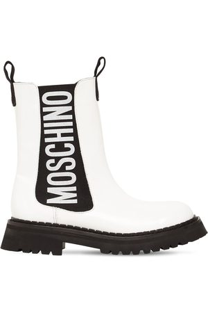Moschino 50mm Patent Leather Combat Boots