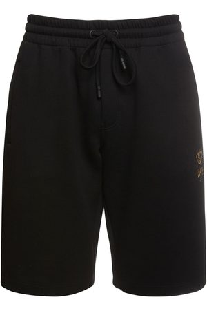 Dolce & Gabbana Bee & Crown Embroidered Cotton Shorts