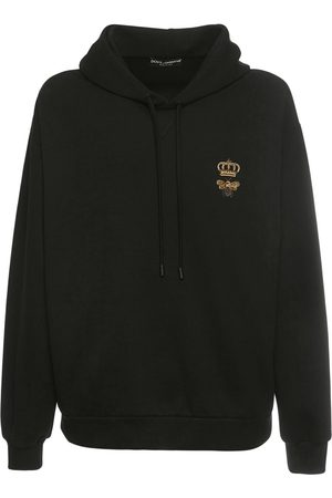 Dolce & Gabbana Bee & Crown Embroidered Cotton Hoodie