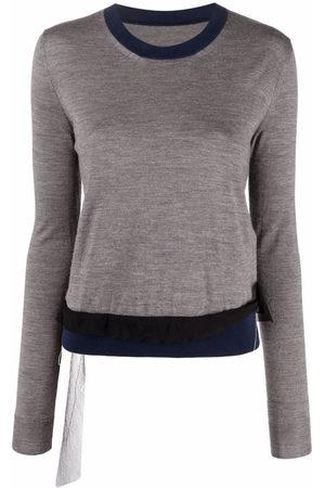 Maison Margiela Women Long Sleeve - Contrast-trim long-sleeve knitted top