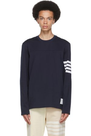 Thom Browne Navy Cotton 4-Bar Long Sleeve T-Shirt