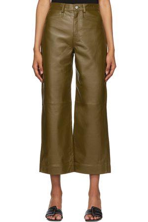Proenza Schouler Khaki Proenza Schouler White Label Leather Cropped Pants