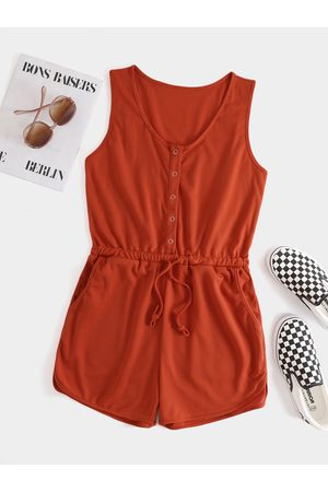 YOINS Women Playsuits - Round Neck Front Button Side Pocket Sleeveless Playsuits