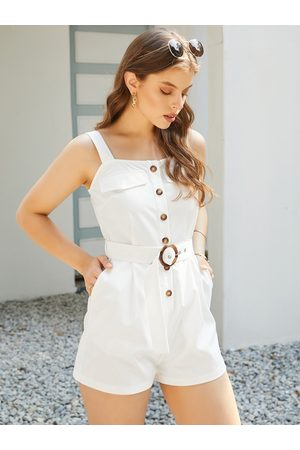 YOINS Women Playsuits - Button Front Side Pocket Sleeveless Playsuits
